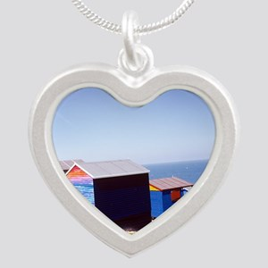 Beach huts - Silver Heart Necklace