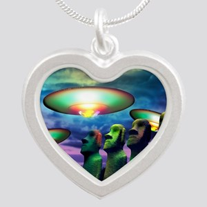 UFOs over statues - Silver Heart Necklace