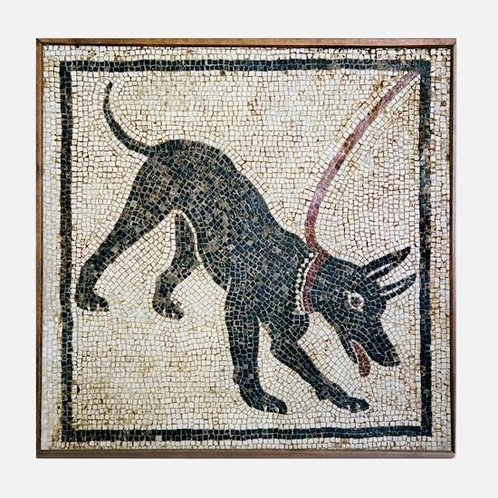 Roman guard dog mosaic - Tile Coaster