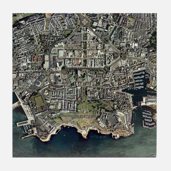 Plymouth, UK, aerial image - Tile Coaster