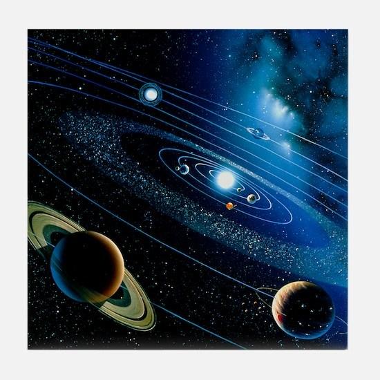 Artwork of the solar system - Tile Coaster