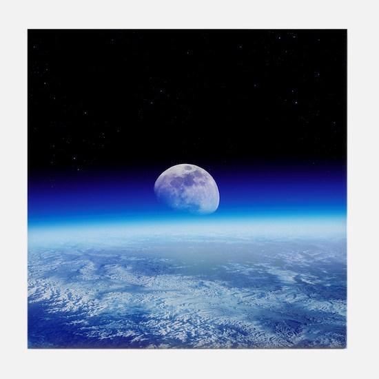 Moon rising over Earth's horizon - Tile Coaster