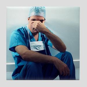 Tired surgeon - Tile Coaster