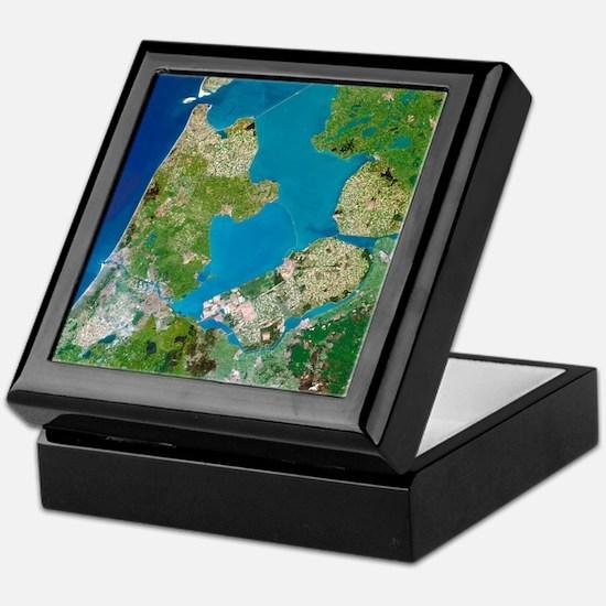 Polders, satellite image - Keepsake Box