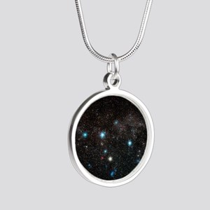 Cassiopeia constellation - Silver Round Necklace