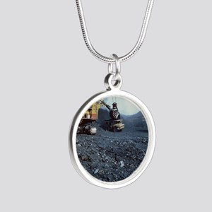 Open cast coal mining - Silver Round Necklace