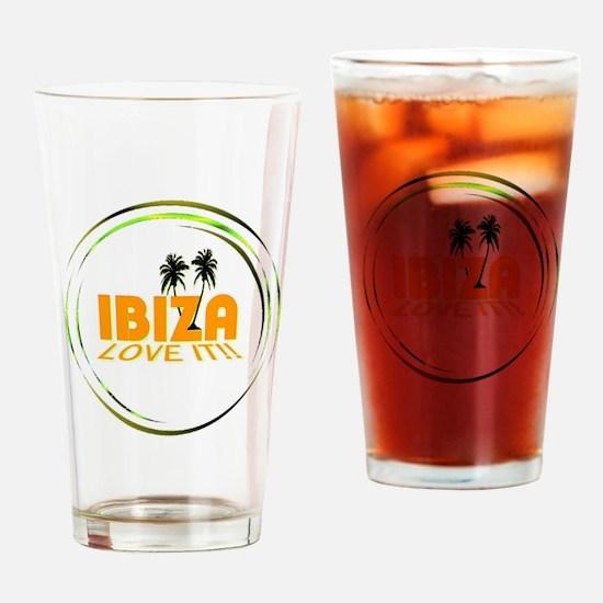 Ibiza I Love It Art Illustration Drinking Glass