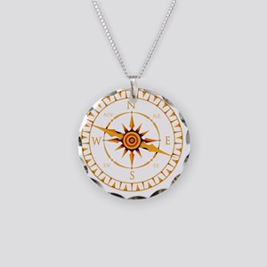 Compass rose - Necklace Circle Charm