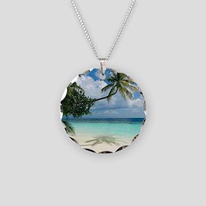Tropical beach - Necklace Circle Charm