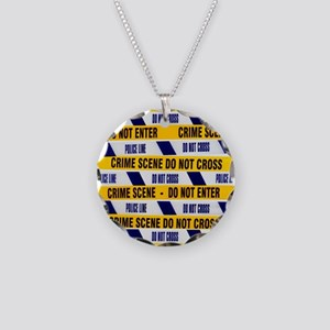 Crime scene tape - Necklace Circle Charm