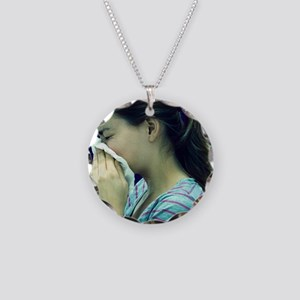 Woman blowing her nose - Necklace Circle Charm