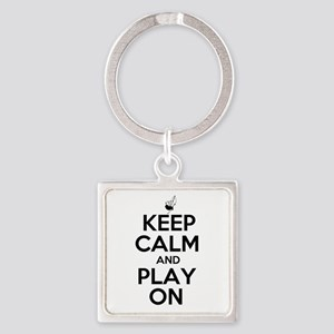 Keep Calm and Play On Bagpipe Square Keychain