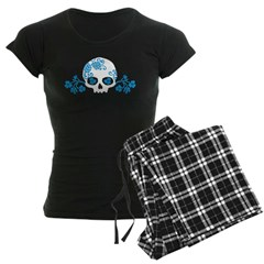 Skull With Blue Blossoms Women's Dark Pajamas