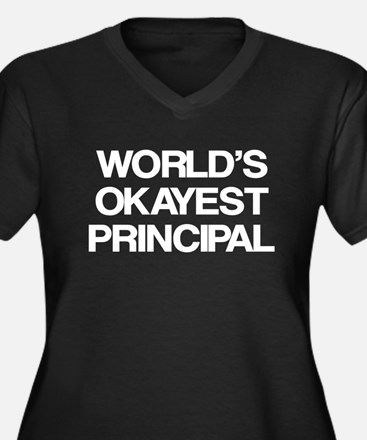 World's Okayest Principal Women's Plus Size V-Neck