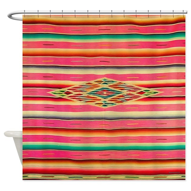 Vintage Pink Mexican Serape Shower Curtain by rebeccakorpita