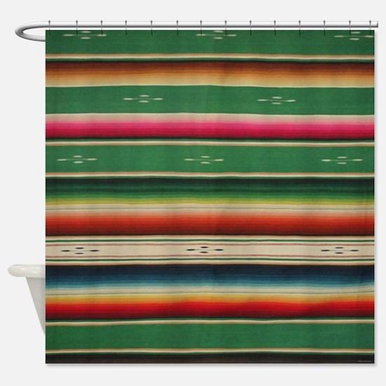 Vintge Green Mexican Serape Shower Curtain