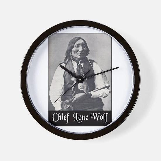 Chief Lone Wolf Wall Clock