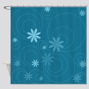 Teal Flowers and Swirls Shower Curtain