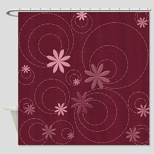 Burgundy Flowers and Swirls Shower Curtain