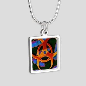 azard symbol - Silver Square Necklace