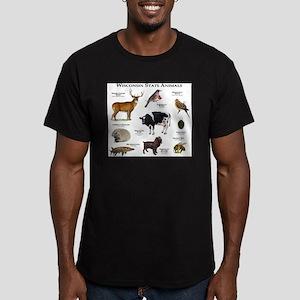 Wisconsin State Animals Men's Fitted T-Shirt (dark