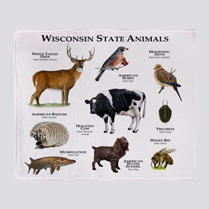 Wisconsin State Animals Throw Blanket