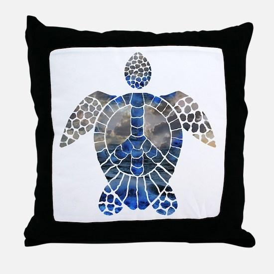 Sea Turtle Peace Throw Pillow
