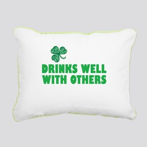 Drinks Well With Others - Rectangular Canvas Pillo