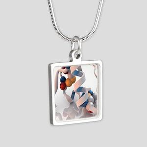 Insulin molecule - Silver Square Necklace