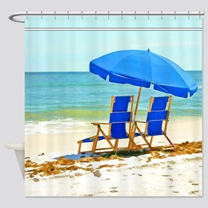 Beach, Umbrella and Chairs Shower Curtain