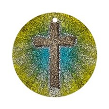 Cool Colorful Cross Ornament (Round)