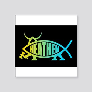 Heathen Fish Rectangle Sticker