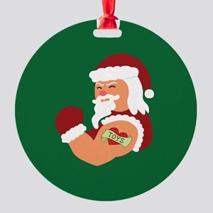 Santa Tattoo Round Ornament