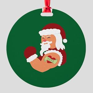 Santa Tattoo Round Ornament