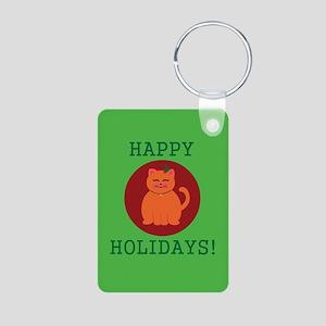 Christmas Cat Aluminum Photo Keychain