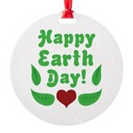 Happy Earth Day Round Ornament