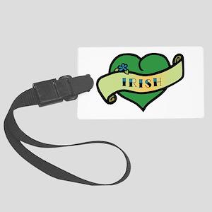 Irish Heart Tattoo Large Luggage Tag