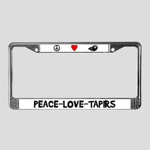 Peace-Love-Tapirs License Plate Frame