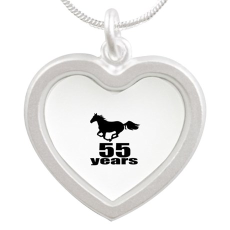 55 Years Birthday Designs Silver Heart Necklace
