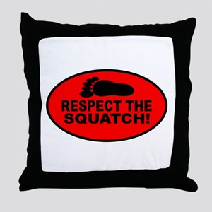 Red RESPECT THE SQUATCH! Throw Pillow