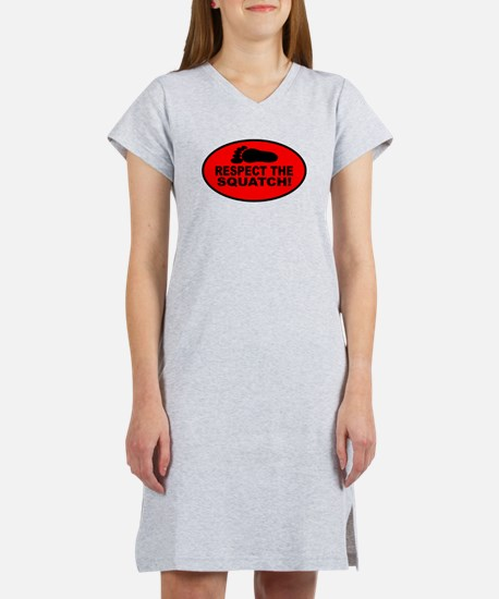 Red RESPECT THE SQUATCH! Women's Nightshirt
