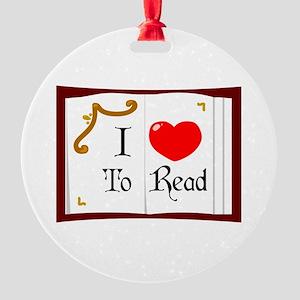 I Love To Read Round Ornament