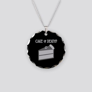 Cake or Death Necklace Circle Charm