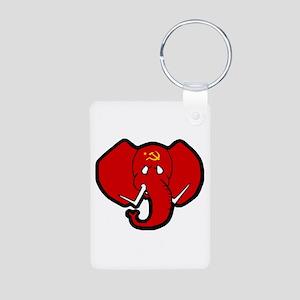 Red Elephant Aluminum Photo Keychain