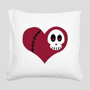Skull Heart Square Canvas Pillow