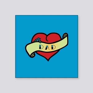 "Dad Tattoo Heart Square Sticker 3"" x 3"""