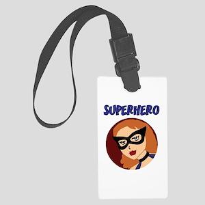 Retro Superhero Betty Large Luggage Tag