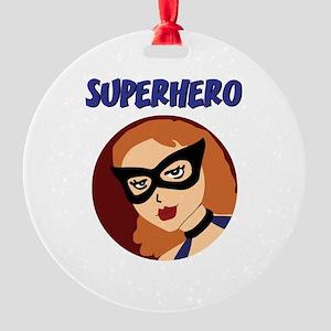 Retro Superhero Betty Round Ornament
