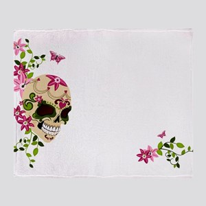 Sugar Skull with Stargazer Lilly Throw Blanket
