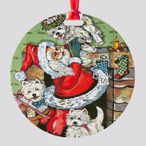 Santa's Little Helpers Round Ornament